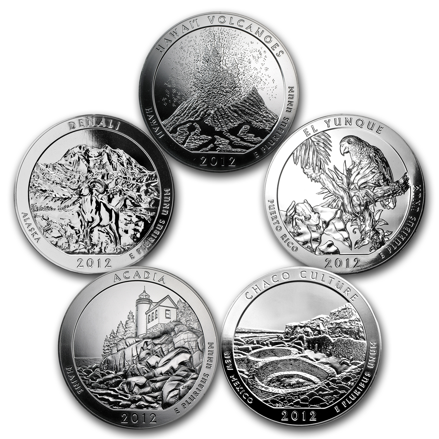 2012 5-Coin 5 oz Silver America the Beautiful Set